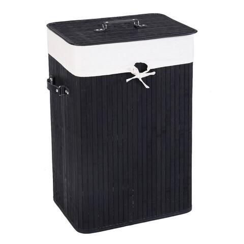 Rectangle Bamboo Hamper Laundry Basket Washing Cloth Bin Storage Bag Lid 3 color-Black