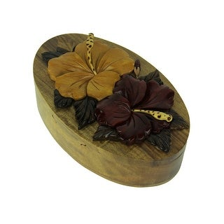 Hand Carved Wood 3D Tropical Hibiscus Flowers Puzzle Trinket Box - 2.25 X 6.75 X 4 inches