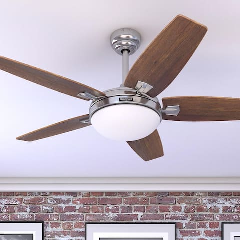 """48"""" Honeywell Carmel Brushed Nickel Ceiling Fan with Integrated Light and Remote"""