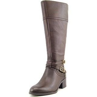 Franco Sarto Lapis Wide Calf Women  Round Toe Leather Brown Knee High Boot