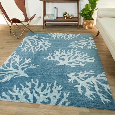 Caistor Coastal Coral Print Area Rug