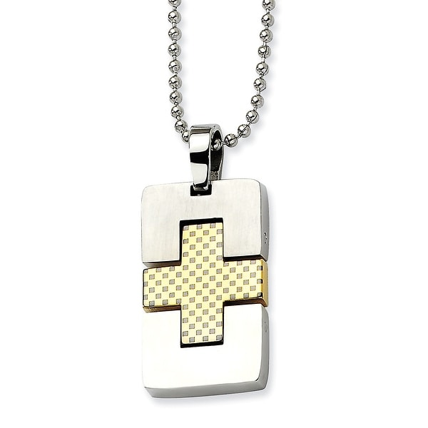 Chisel Stainless Steel Satin & Gold Plated Rectangular Cross Pendant 22 Inch Necklace (1 mm) - 22 in