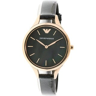 Emporio Armani Women's Aurora AR11056 Black Leather Fashion Watch