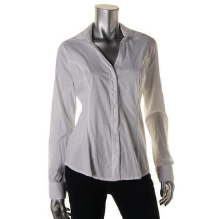 XOXO Womens Juniors V-Neck Collared Button-Down Top - L