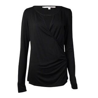 Studio M Women's Keyhole Ruched Long Sleeve Top - Black