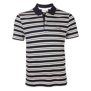Lacoste Mens Stripe Pique Polo in Navy Blue/White Black