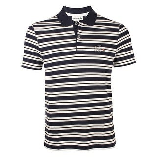 Lacoste Mens Stripe Pique Polo in Navy Blue/White Black