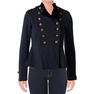 Denim & Supply Ralph Lauren Womens Military Jacket Contrast Trim Double-Breasted - s