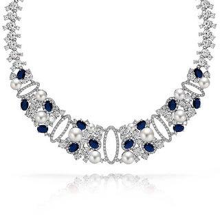 Bling Jewelry Imitation Sapphire CZ Imitation Pearl Necklace Rhodium Plated - Blue