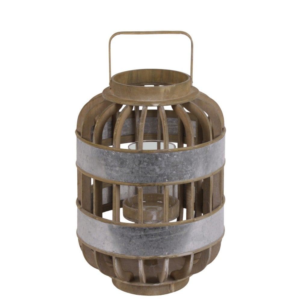 Wood Wide Round Lantern with Lattice Design Body and Handle, Brown