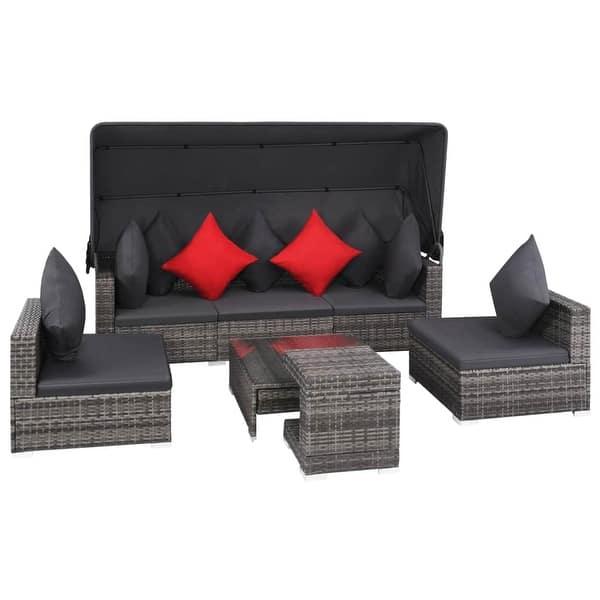 Shop Vidaxl Outdoor Sofa Set 23 Pieces Poly Rattan Gray Garden