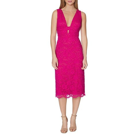 Laundry by Shelli Segal Womens Party Dress Double V-Neck Lace - Bright Fuchsia