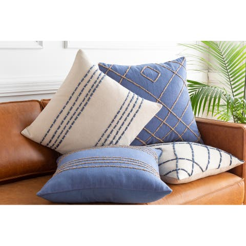 """Malik Cream & Navy Hand Embroidered Throw Pillow Cover (20"""" x 20"""")"""