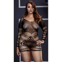 Plus Size Long Sleeve Netted Mini Dress, Plus Size Long Sleeve Striped Chemise - Black - Queen Size