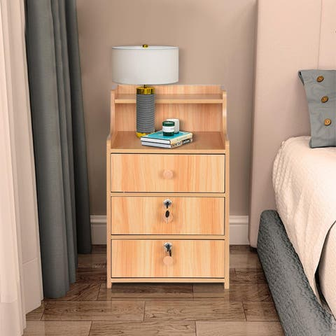 Simples End Table Bedroom Nightstand Coffee Table 3 Drawer With Lock Cabinet
