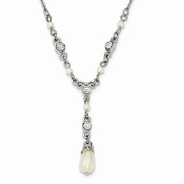 Silvertone Downton Abbey Simulated Pearl & Crystal 3in Ext. Necklace - 16in