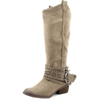 Not Rated Lady Swag Women Round Toe Canvas Gray Knee High Boot