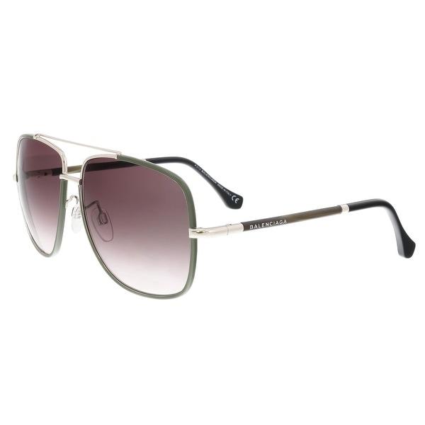 9c0a7aa1c524 Shop Balenciaga BA0061 96Z Olive Aviator Sunglasses - 60-14-130 ...
