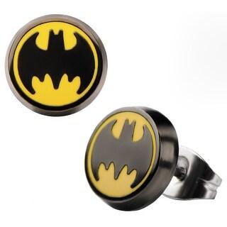 Batman Enamel Logo Round Stainless Steel Stud Earrings