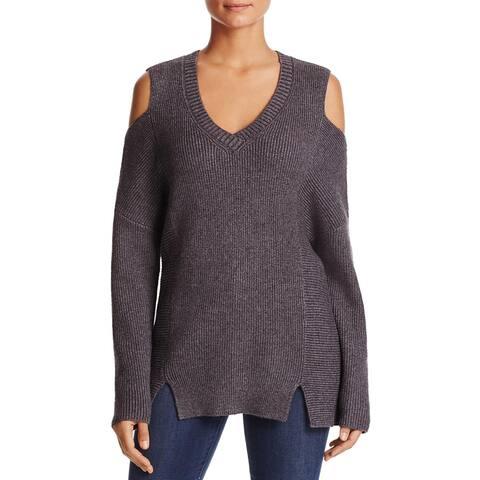 Lysse Womens Riley V-Neck Sweater Ribbed Knit Cold Shoulder