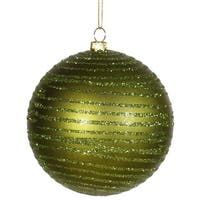 "Olive Green Glitter Striped Shatterproof Christmas Ball Ornament 4"" (100mm)"
