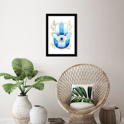 Wynwood Studio 'Hamsa in Blue' Spiritual and Religious Wall Art Framed Print Religion - Blue, Gold