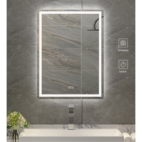 Saint Birch Lance Frameless Led Lighted Bathroom Vanity Mirror 24 Inches X 30 Inches Overstock 32123998