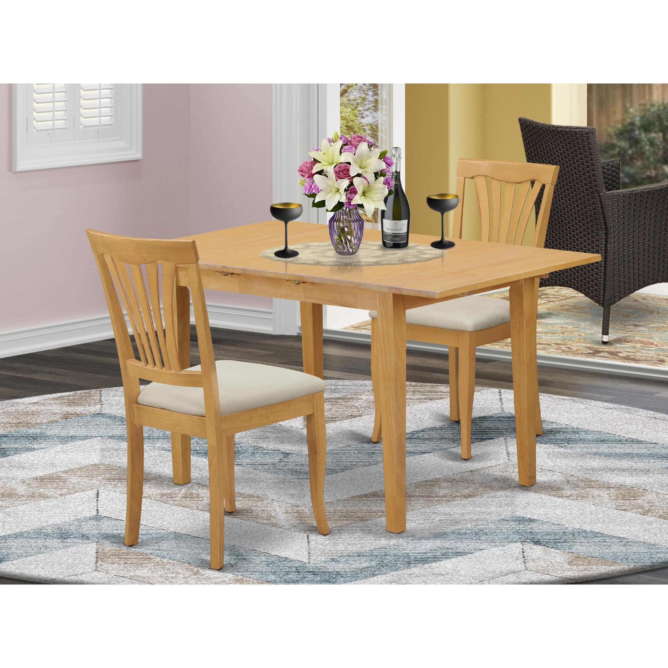 3 Piece Small Kitchen Table Set Oak Overstock 14366579
