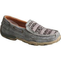 Twisted X Boots Women's WDMS012 Slip-On Driving Moccasin Grey/Multi Leather/Canvas