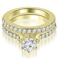 1.65 cttw. 14K Yellow Gold Cathedral Round Cut Diamond Engagement Matching Set - Thumbnail 0