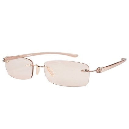 Rimless UV Protection,Anti Glare,Scratch Resistant Lens Reading Glasses Amber Tinted Lenses+2.0