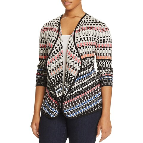 Nic + Zoe Womens Plus Cardigan Sweater Printed Open Front