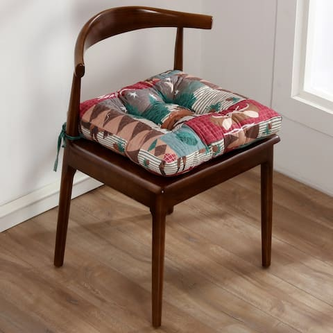 Greenland Home Fashions Moose Lodge Triple Layered Chair Pad - 18 inches x 18 inches