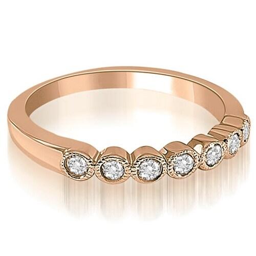 0.21 cttw. 14K Rose Gold Antique Milgrain Bezel Round Cut Diamond Wedding Ring