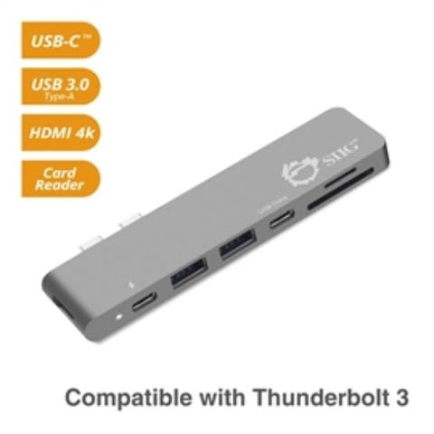 SIIG Accessory JU-TB0512-S1 Thunderbolt 3 USB Hub HDMI with Card Reader Space Gray Retail