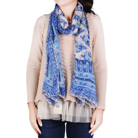 Richie House Women's Mixed Blue Florals Scarf - Standard