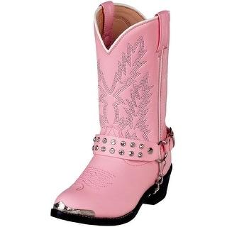 Durango Western Boots Girls Rhinestone Cowboy Heel Pink Bling BT668