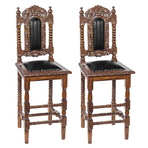 Design Toscano Charles II Gothic Bar Stool: Set of Two