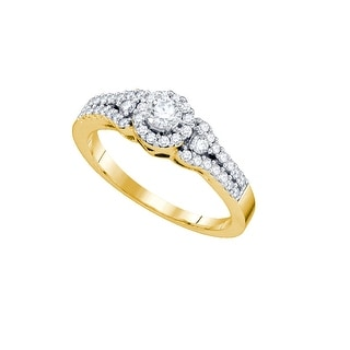 14k Yellow Gold Round Cluster Natural Diamond Womens Bridal Wedding Engagement Ring 1/2 Cttw - White