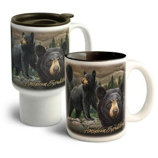 American Expedition Bear Collage Home&Away Stoneware Mug Set - CM-CT-301