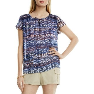Two by Vince Camuto Womens Casual Top Printed Smocked
