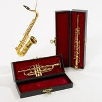 "12 Seasons of Elegance Brass Musical Instrument Christmas Ornaments 4.5 - 6"" - GOLD"