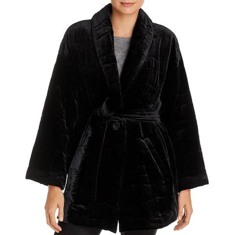 Eileen Fisher Womens Coat Velvet Midi - Black