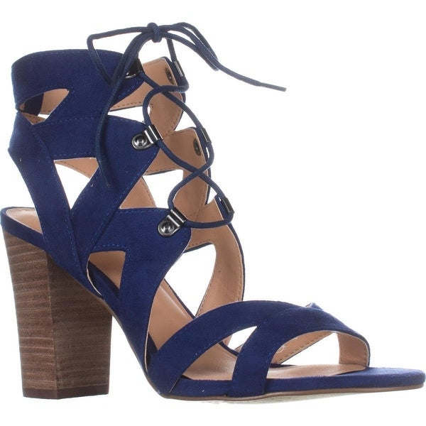 XOXO Barnie Heeled Lace Up Sandals, Blue