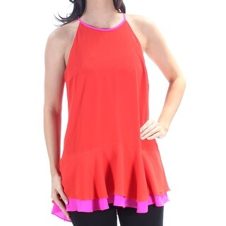 Womens Red Sleeveless Halter Top Size S