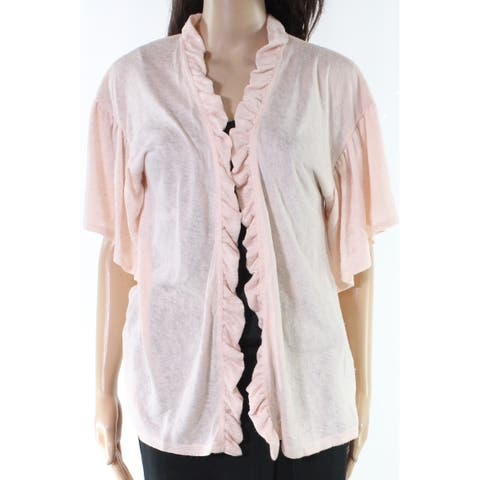 Bobeau Blush Pink Womens Size Small S Ruffle Cardigan Sweater