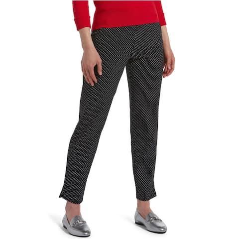 Hue Women's Temp Tech Polka Dots Pull-On Trouser Leggings, Black, M