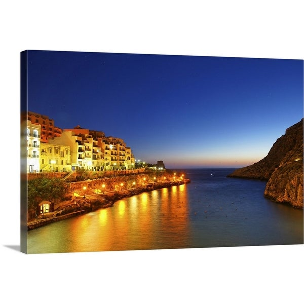 """Night View of Xlendi Bay"" Canvas Wall Art"