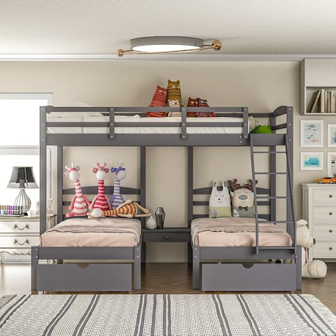 [Pre Sale]AOOLIVE Full Over Twin & Twin Bunk Bed with Drawers,Gray