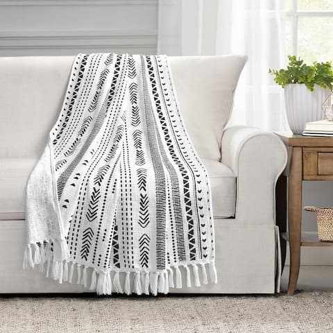 Lush Decor Hygge Stripe Cotton Slub Tassel Fringe Throw Blanket